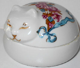 Collectible Cat Trinket Box, Elizabeth Arden, Roses & Ribbons, Round