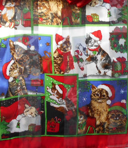 Collectible Christmas Cat Scarf, Cats With Santa Hats