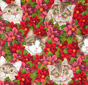 Collectible Christmas Cat Fabric, Cats & Poinsettias