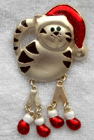 Collectible Christmas Cat Pin, All Legs