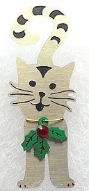 Collectible Christmas Cat Pin, Cat With Holly