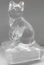Collectible Clear Glass Cat, Frosted Base