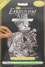 Collectible Silver Foil Engraving Set, Cat & Kitten
