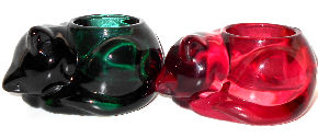 Collectible Glass Cat Candle Holders, Red & Green