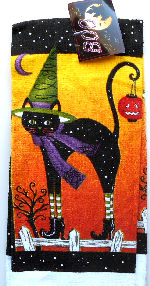 Collectible Halloween Cat On Fence Kitchen Towel