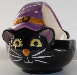 Collectible Halloween Cat Basket, Ceramic