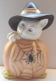 Collectible Lenox Cat, Pumpkin & Spider
