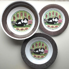 Collectible Melamine Plates & Bowls, Tuxedo Cat