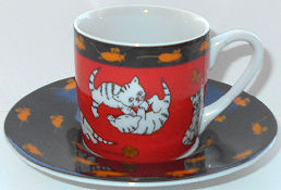 Collectible Mini Cat Cup And Saucer