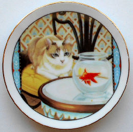 Collectible Mini Plate, Cat At Fishbowl