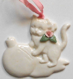 Collectible Porcelain Ornament, Kitten And Ornament