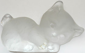 Collectible Glass Kitten Figurine, Viking Glass
