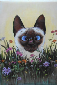 Collectible Cat Magnet, Siamese And Bee