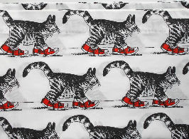 Collectible Kliban Cat Twin Flat Sheet, Red Sneakers