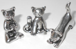 Miniature Yoga Cats, Pewter