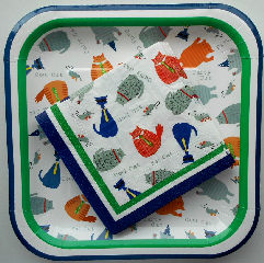 Collectible Cat Paper Plates & Cocktail Napkins, Cool Cat
