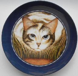 Collectible Cat Plate, Lowell Herrero, Cat Face