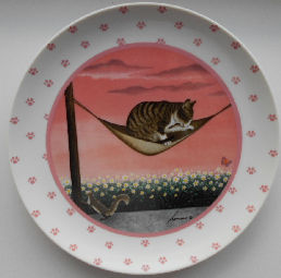 Collectible Cat Plate, Lowell Herrero, Cat In Hammock