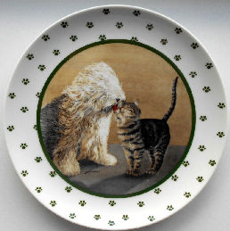 Collectible Cat Plate, Lowell Herrero, Kisses