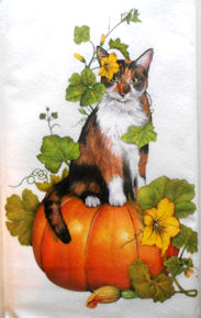 Sample, Calico Cat On Pumpkin Flour Sack Towel