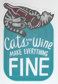 Cat Sticker, Cats And Wine
