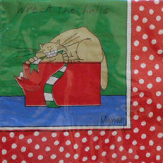 Sample, Cat Christmas Paper Napkins, Wreck The Halls