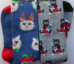 Sample, Youth Knee High Socks, Christmas Cat, Cat & Guitar