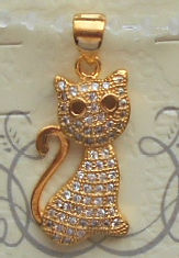 Small Gold Tone Cat Charm