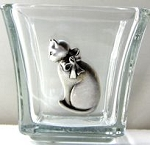 Votive Candle Holder, Cat With Bow