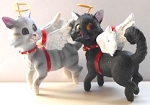Cat Angel Ornament, Grey Or Black Cat