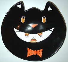 Black Cat Halloween Plate