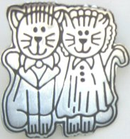 Boy And Girl Cat Pin
