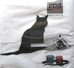 Cat Paper Napkins, Black Cat Journal
