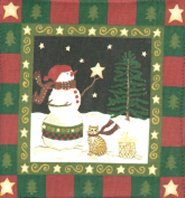 Christmas Cat Paper Napkins, Snowman And Cat, Winter Nite