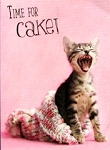 Cat Birthday Card, Time For Cake!