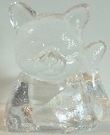 Clear Glass Cat Candle Holder