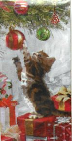 Cat Christmas Pocket Tissue, Kitten And Bauble