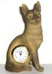 Collectible Cat Desk Clock,  Abyssinian
