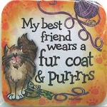 Cat Coaster, Best Friend Wears Fur Coat And Purrrrs