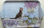 Cat Snack Or Condiment Tray, Kitten And Flowers