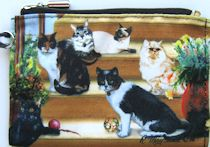 Cat Cosmetic Bag, Cats On Stairs