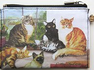 Cat Cosmetic Bag, Six Cats