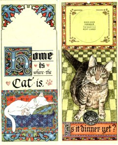 Cat Door Hanger, Postcard Or Sign: Home or Dinner