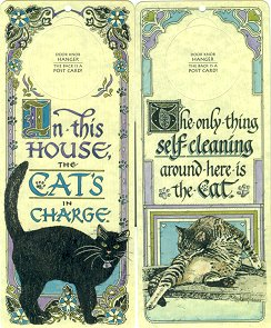 Cat Door Hanger, Postcard Or Sign: In Charge or Self-Cleaning