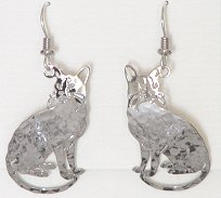 Abyssinian Cat Earrings, Silver