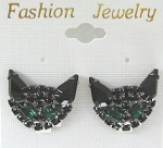 Cat Earrings, Black Cat Green Eyes