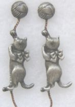 Cat Earrings, Cats And Yarn