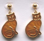 Collectible Cat Earrings, Sitting Cats, Gold Tone