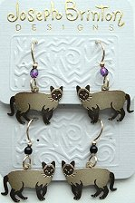 Siamese Cat Earrings, Gold