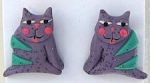 Collectible Cat Earrings, Purple Cat